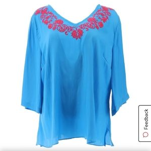 IMAN Global Chic Embroidered Caftan Top Blue M